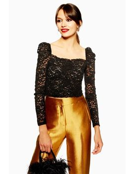 Metallic Daisy Lace Top by Topshop