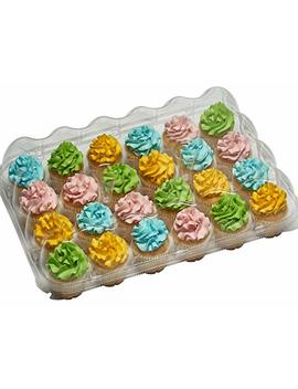 5 24 Compartment Clear High Dome Cupcake Containers Plastic Boxes With Baking Cup Liners   Great For High Topping   5 Boxes 24 Slot Each   Plus White Standard Size Baking Cups by Decony