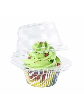 Katgely Individual Cupcake Container   Single Compartment Cupcake Carrier Holder Box   Stackable   Deep Dome   Clear Plastic   Bpa Free  Pack Of 50 by Katgely