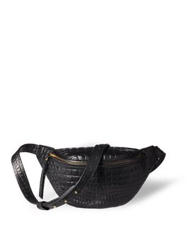 Fanny Pack 'niki' Small Black Vegetable Tanned Leather With Croco Print And Golden Zippers by Etsy