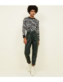 Dark Green Leather Look Paperbag Trousers by New Look