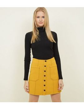 Yellow Contrast Stitch Button Front Mini Skirt by New Look