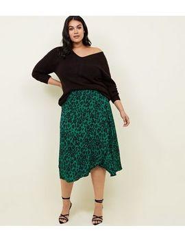 Curves Green Leopard Print Midi Skirt by New Look