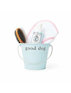 Harry Barker Dog Spa Day Gift Set Includes 100 Percents Cotton Terry Cloth Robe, Bamboo Brush, Shea Butter Shampoo/Conditioner, Recycled Steel Gift Bucket by Harry Barker