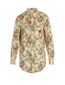 Tiger Embroidered Floral Print Linen Shirt by Matches Fashion