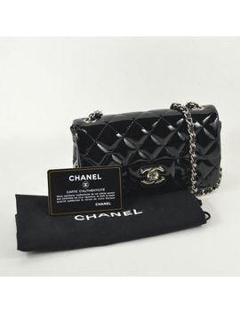Great Condition! Chanel Extra Mini Classic Flap Cross Body Bag In Black/ Sliver by Chanel