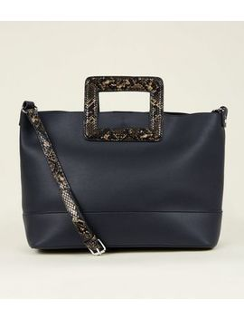 Black Faux Snake Handle Tote Bag by New Look