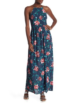 High Neck Print Woven Maxi Dress by Everly