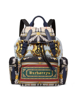 Printed Shell And Leather Backpack by Burberry