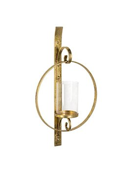 Kate And Laurel Doria Metal Wall Candle Holder Sconce, Gold Leaf Finish, Includes 6 Inch Glass Pillar by Kate And Laurel