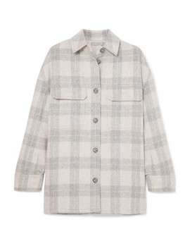 Checked Wool Blend Flannel Jacket by Vince