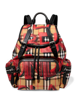 Leather Trimmed Printed Gabardine Backpack by Burberry
