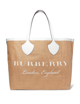 Leather Trimmed Printed Canvas Tote by Burberry