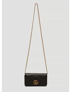 Gg Marmont Mini Chain Bag In Black by Gucci