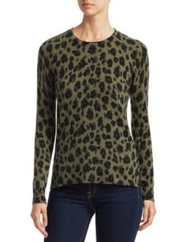 Collection Animal Print Crewneck Cashmere Sweater by Saks Fifth Avenue
