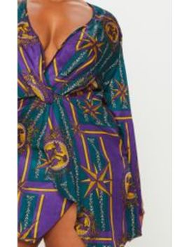 Plus Purple Printed Long Sleeve Wrap Dress by Prettylittlething