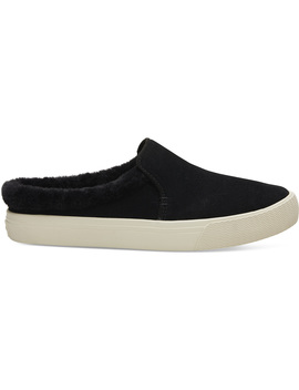 Black Suede And Faux Fur Women's Sunrise Mule Slip Ons by Toms