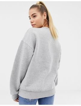 Boohoo Heart Embroidered Oversized Sweat In Grey by Boohoo