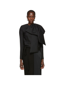 Black Oversized Bow Blouse by Givenchy