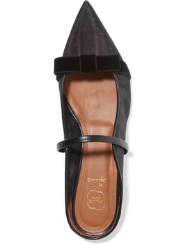 Marguerite Velvet And Leather Trimmed Point D'esprit Mesh Point Toe Flats by Malone Souliers By Roy Luwolt