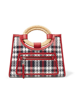 Runaway Small Raffia Trimmed Woven Leather Tote by Fendi