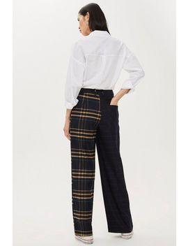 Petite Mixed Check Wide Trousers by Topshop