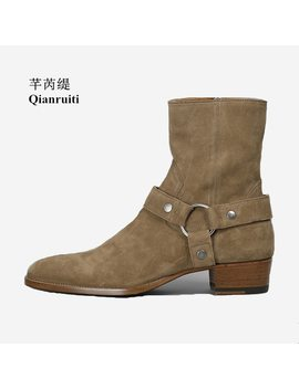 Qianruiti  Men's Ankle Boots Celebrity Cow Suede Buckle Crepe Shoes Low Heeled Western Street Boots Black And Camel by Qianruiti