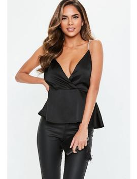 Black Diamante Strap Wrap Cami Top by Missguided