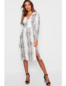 Snake Print Side Split Shirt Dress by Boohoo