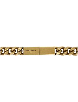 Bronze Chain Logo Belt by Saint Laurent