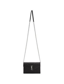 Black & Silver Monogramme Envelope Chain Bag by Saint Laurent