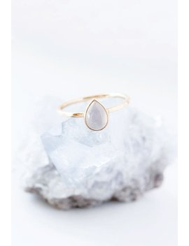 Teardrop Blue Chalcedony Gold Ring, Solitaire Ring, Pastel Blue, Pear Cut Ring, Blue Gemstone Ring, Bezel Set Ring, Stackable Ring, Cabochon by Etsy