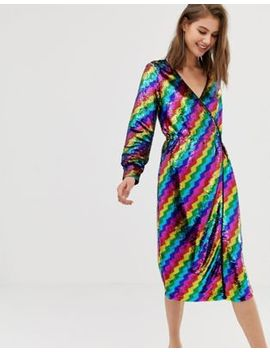 Warehouse Wrap Dress In Rainbow Sequin by Warehouse