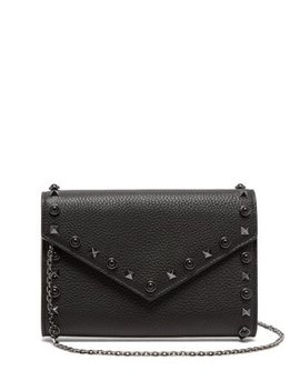 Rolling Rockstud Grained Leather Clutch by Matches Fashion