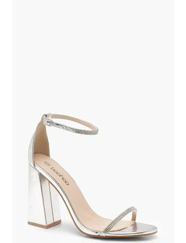 Metallic Block Heel Diamante 2 Part Heels by Boohoo