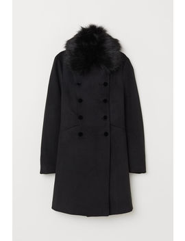 Coat With A Faux Fur Collar by H&M
