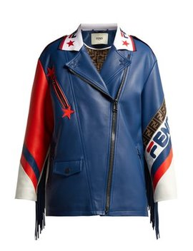 Mania Logo Trimmed Leather Biker Jacket by Matches Fashion