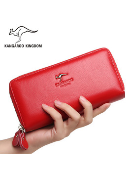 Kangaroo Kingdom Women Wallets Genuine Leather Long Purse Women Clutch Bags Brand Female Wallet by Kangaroo Kingdom