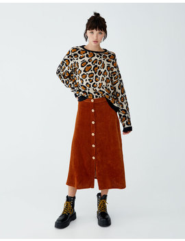 Leopard Print Sweater With Contrasting Trim by Pull & Bear