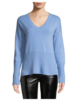 Ribbed V Neck Cashmere Sweater by Derek Lam 10 Crosby