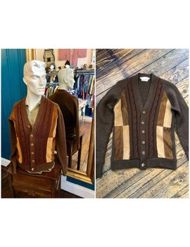 "36"" 1950s Brown Wool Suede College Cardigan Small by Etsy"