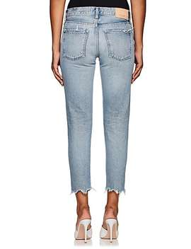 distressed-mid-rise-tapered-jeans by moussy-vintage