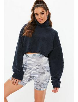 Navy Teddy High Neck Cropped Sweatshirt by Missguided