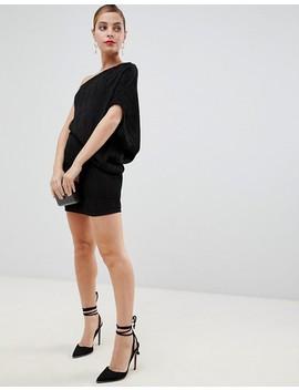 Asos Design Petite One Shoulder Mini Shift Dress In Glitter Plisse by Asos Design