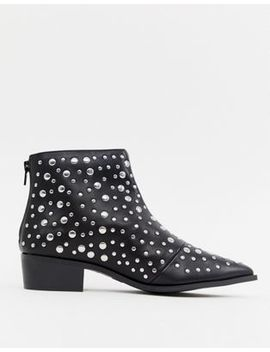 London Rebel Pointed Stud Ankle Boots by Shoes