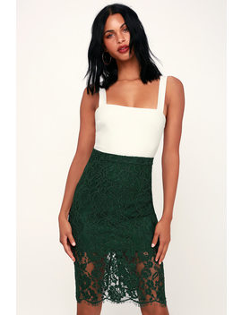 Little By Little Forest Green Lace Midi Skirt by Lulus
