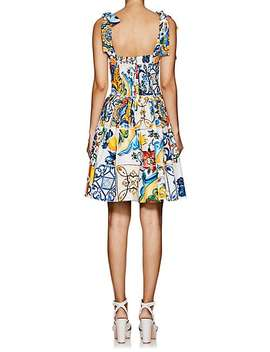 Majolica Tile Print Cotton Poplin Dress by Dolce & Gabbana