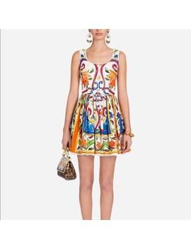 Dolce Gabbana Majolica Poplin DressNwt by Dolce & Gabbana