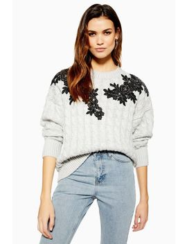 Applique Cable Jumper by Topshop