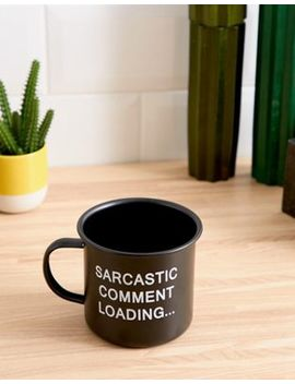 Kado Sarcastic Comment Black Soft Touch Enamel Mug 450ml by Mug